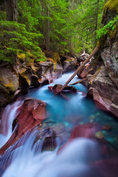 Glacier's Romance by landscape photographer Jordan Ek on 500px.  Waterfall in Glacier National Park, Montana, USA.