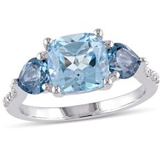 Amour Cushion Cut Sky and London Blue Topaz and Diamond Floral Ring in Sterling Silver