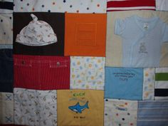Patchwork Style Quilt made from baby clothing  CUSTOM by BarbMalm, $269.00