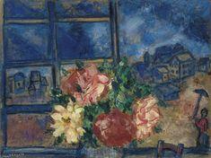 Marc Chagall (Russian/French, 1887-1985), La fenêtre ouverte ou Vue de la fenêtre, [The Open Window, or View from the Window], c.1927. Oil, gouache and watercolour on paper laid down on canvas, 37.5 x 49.5 cm.