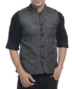 Grey jute nehru jacket   1. Grey jute mix and match jacket2. Chest size: Medium-40 inches, Large-42 inches, XL-44 inches3. Jacket length: 27 inches, Large-27 inches, 28, XL-44 inches
