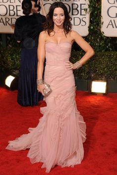 Emily Blunt Pink Golden Globe Red Carpet Evening Dress Vestidos Fashion, Fashion Dresses, Pink Dress, Dress Up, Strapless Dress Formal, Formal Dresses, Club Dresses, Elegant Dresses, Party Dresses