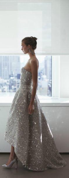 Oscar De La Renta Silver Sequin Wedding Gown