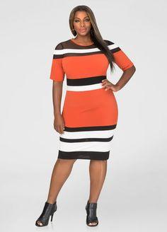 Tri-Color Stripe Mesh Dress