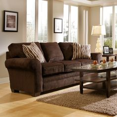 Gray walls brown furniture living room ideas - Chocolate brown room designs ...