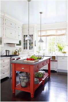 -Red Kitchen Design Ideas One piece of bold furniture can change an entire kitchen's look. In this country kitchen, white cabinets create a peaceful perimeter that asks for a vibrant pick-me-up. White Cottage Kitchens, Small Cottage Kitchen, Grey Kitchens, Country Kitchen, New Kitchen, Cool Kitchens, Kitchen Decor, Kitchen Ideas, Red And White Kitchen