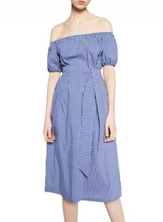The dress is made from cotton blend with color block striped print, off the  shoulder design and tie waist.