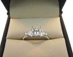 Princess cut & trillions three stones engagement ring