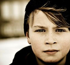 Portrait of a schoolboy in Reykjavik who was playing in the snow.
