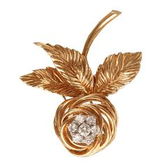 1stdibs - VAN CLEEF & ARPELS Gold and Diamond Rose Pin explore items from 1,700  global dealers at 1stdibs.com