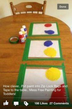 Mess free toddler paint