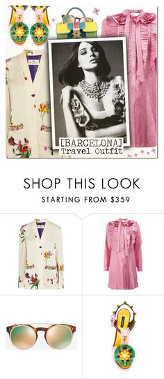 """""""Barcelona Travel Outfit"""" by vampirella24 ❤ liked on Polyvore featuring Etro, Gucci, Valentino, Dolce&Gabbana, Giancarlo Petriglia and Kerr®"""