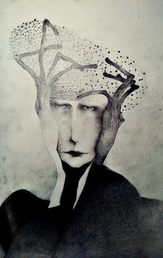 'Man with hat made out of stars' (2012) by Croatian artist Sonja Barbaric. Pencil on paper.