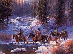 Martin Grelle #2 ~ Native Americans crossing river in winter