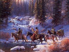 Martin Grelle #2 ~ Native Americans crossing river in winter
