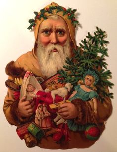 Victorian St. Nicholas chromalithographed diecut scrap, 6.25 inches high