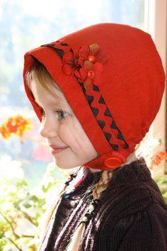 $35.00  Red Bonnet Cotton and Hemp Knit hat photo prop by StarlitesChild