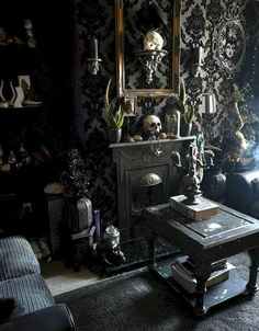 gothic Home decor 39 Attractive Diy Halloween Living Room Decoration Ideas 800374165012579783 Gothic Living Rooms, Gothic Room, Gothic House, Black Living Rooms, Gothic Bedroom Decor, Victorian Gothic Decor, Modern Gothic, Living Spaces, Gothic Interior