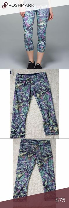 """Lululemon Run: Inspire Crop Iridescent Multi 10 designed for: run fabric(s): Full-On Luxtreme® fit: tight rise: medium inseam: 21 1/2"""" leg opening: 10 1/2"""" hemmable: no  two hidden waistband pockets secure back zipper pocket continuous drawcord for a custom fit  Preloved, no flaws. Women's size 10.  #1859 lululemon athletica Pants Ankle & Cropped"""