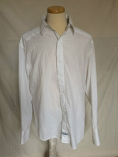 English Laundry by Scott Weiland mens shirt white large cuffs embroidery XXL | eBay