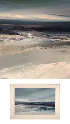 Original atmospheric seascape painting now available from the studio... artwork size 75 x 50cm framed in a whitewash wooden slip and frame, overall size 90 x 65cm