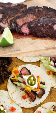 Grilled Sirloin Steak Tacos feature dry-rubbed grilled sirloin steak topped with all of your favorite taco toppings. You will want to make them all summer long! Grilled Steak Recipes, Meat Recipes, Mexican Food Recipes, Dinner Recipes, Cooking Recipes, Game Recipes, Grilling Recipes, Steak Meals, Grilled Steaks