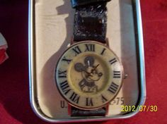 Vintage Mickey mouse Copper and ceramic Roman numeral watch with blck basketweave band on Etsy, $50.00