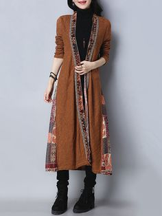 Folk Style Vintage Print Patchwork Long Sleeve Women Long Coats #Unbranded #Outerwear