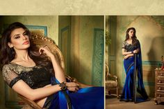 Ethnically Beautiful Shaded Blue Saree with Black Embroidered Blouse