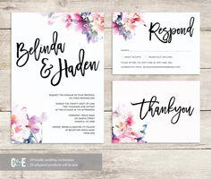 Romantic Multi Watercolour Wedding Invitation PDF Set