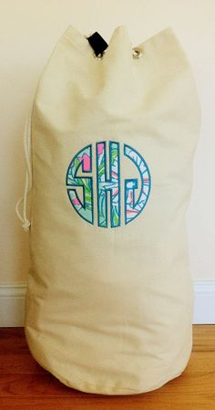 Lilly Pulitzer Fabric Monogrammed Cotton Canvas Laundry Duffle Bag with Strap on Etsy, $35.00