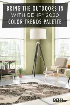 Ready to get back to nature? Let our 2020 Color Trends bring the outdoors into your home. Featured here in this modern living room, the BEHR® 2020 Color of the Year—Back to Nature—is a restorative and revitalizing shade of green. Click below to learn more.