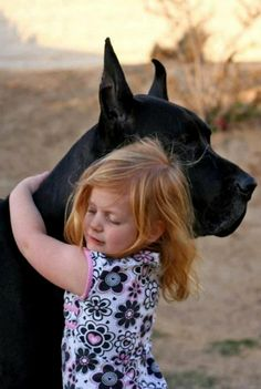 La niña con su Gran Danés negro ... un amor ...