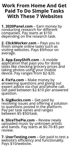 Work From Home And Get Paid To Do Simple Tasks With These 7 Websites – Make Money from Home