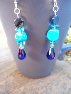 Handmade Unique dangle earrings: Turquoise Beads w/ different Blue Glass beads, River Shells & Swarovski Crystals, Sterling Silver Hooks