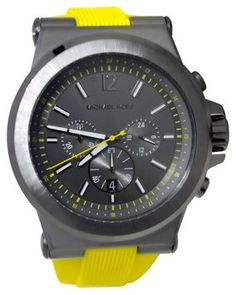 Michael Kors Men's Chronograph Dylan Yellow Silicone Strap Watch 48mm MK8356 29% off retail