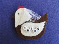Bride HEN party badge with veil by MadeBytheHandsofWood on Etsy