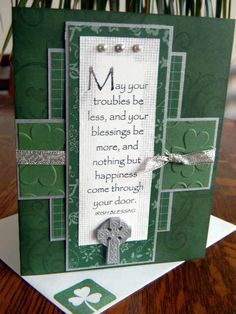 Celtic Cross IRISH BLESSING Handmade Handstamped ST. PATRICK'S DAY Card by stars_creations on Ebay.