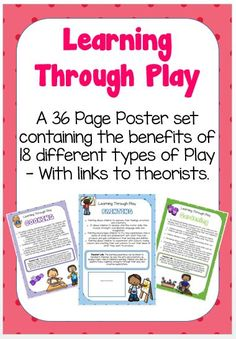 This beautifully designed poster pack includes 36 colourful posters containing all of the benefits of 18 different types of play with links to relevant theorists..  They are perfect for displaying on walls...
