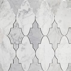 Odeza Arctic Gray Marble Tile These gorgeously intricate Arabesque inspired marble mosaics are composed of Light & Dark Carrara marble, and would Grey Marble Tile, Marble Mosaic, Green Marble, Stone Mosaic, Stone Tiles, Mosaic Tiles, Wall Tiles, Carrara Marble, Cabana Decor