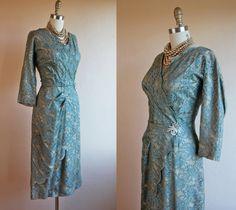 1950s Dress  Vintage 50s Dress  Sage and Golden Nude by jumblelaya, $168.00