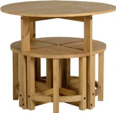 Dining Table And 4 Chairs Pine Wood Round Kitchen Set 5 Piece Compact Stacking in Home, Furniture & DIY, Furniture, Table & Chair Sets Space Saver Dining Table, Buy Dining Table, Kitchen Table Chairs, Wooden Dining Tables, Wooden Stools, Dining Set, Room Chairs, Articles En Bois, Compact Table And Chairs