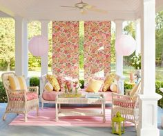 While I'm not a huge fan of pink, at least not this much pink, I love the idea of hanging removable, outdoor fabric panels around the porch to shade seating areas. To make: Back patterned fabric with a second fabric layer for stability; add grommets at the top, and hang from cup hooks. To prevent blowing, clip weights to panel bottoms.