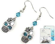 Blue skull with flower #DIY #Earrings! DoubleBeads Mini Jewelry Kit.