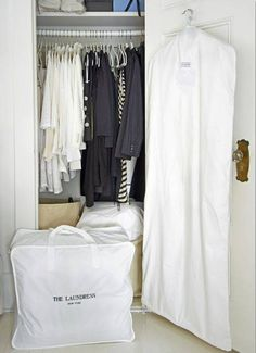 wardrobe storage hacks for when seasons change on domino.com (off season clothing protected in storage bags)