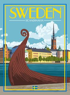 Sweden Stockholm - Vintage Travel Poster
