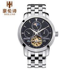 reloj automático de la luna de la moda Tourbillon mecánico HOLUNS NS002 relojera de Ginebra hombres de la marca de relojes masculino Fase del relogio