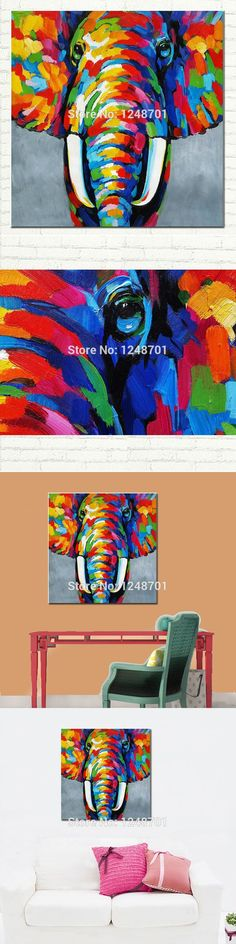 Pop Art Elephant Painting Hand Painted African Abstract Art Wildlife Oil Painting On Canvas for Modern Home Wall Decoration $44.9