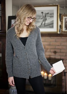 This essential cardigan is top-down, has minimal finishing and a built-in button band.    Instructions are included for a modern texture-stitch version with pockets or a plain, but adorable, shaped stockinette stitch version.  $6.00 pattern