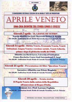 Serie di incontri con proiezione anche del film ` Il Leone di Vetro ` sulla storia del popolo veneto e la Serenissima Repubblica Veneta  APRILE VENETO